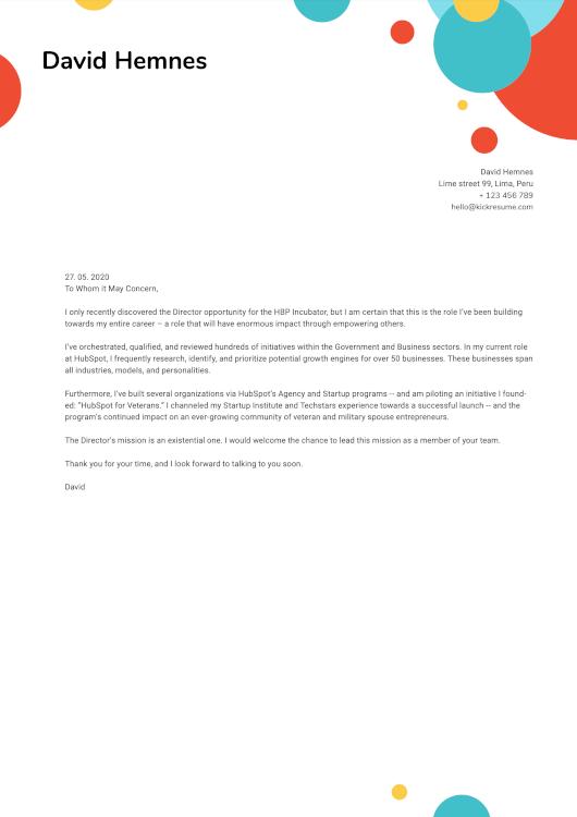 Exemplo de carta de apresentação Bubbls feito com o criador de cartas de apresentação Kickresume