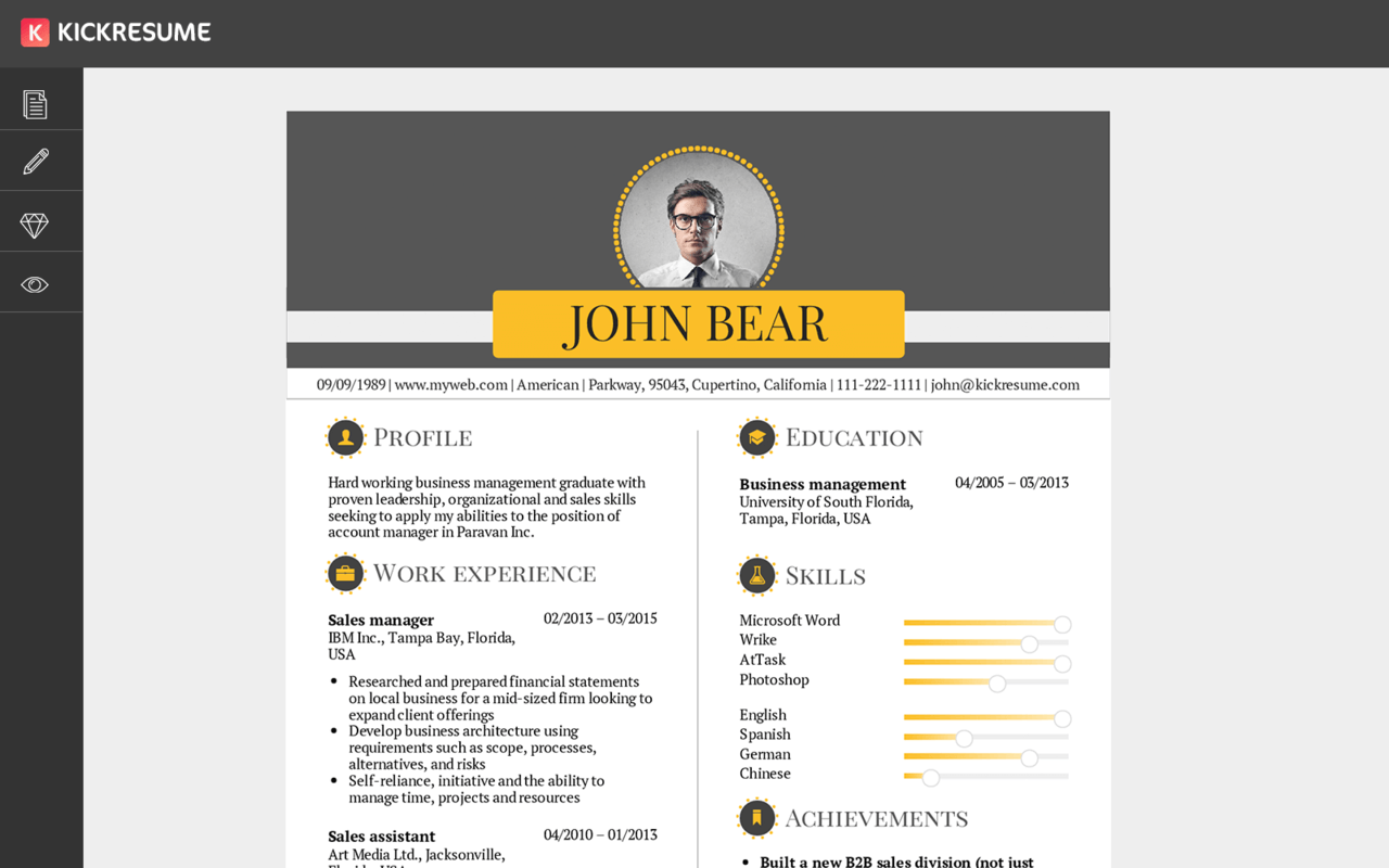 Kickresume | Create a Professional Resume in Minutes and Get Hired ...