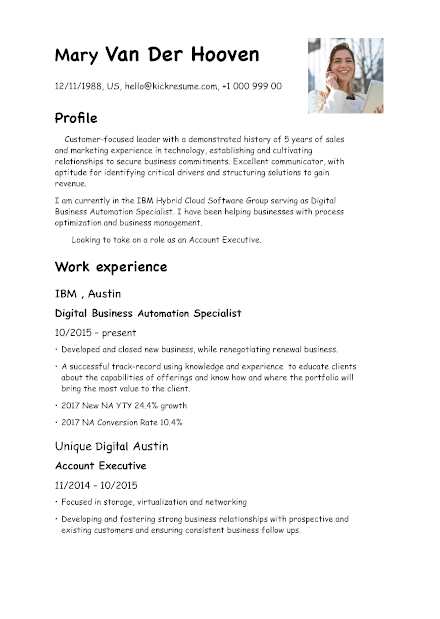 Resume created in Word
